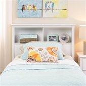 Prepac Monterey White Twin Bookcase Headboard