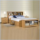 Prepac Sonoma Maple Queen Wood Platform Storage Bed 2 Piece Bedroom Set