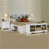 Prepac Monterey White Double Wood Platform Storage Bed 3 Piece Bedroom Set