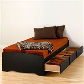 Prepac Sonoma Black Twin XL Platform Storage Bed with Drawers