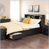 Prepac Black Sonoma Double / Full Bookcase Platform Storage Bed