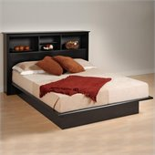 Prepac Black Sonoma Queen Bookcase Platform Bed