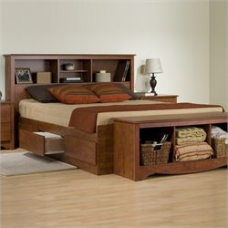 Prepac Monterey Cherry Double / Full Bookcase Platform Storage Bed