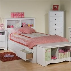 Prepac Monterey White Twin Bookcase Platform Storage Bed