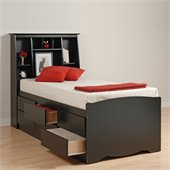 Prepac Black Sonoma Tall Twin Bookcase Platform Storage Bed