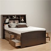 Prepac Manhattan Tall Queen Bookcase Platform Storage Bed in Espresso Finish