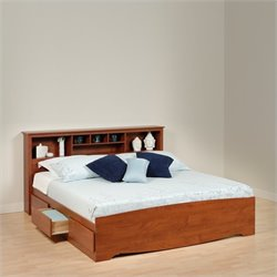 Prepac Monterey Cherry King Platform Storage Bed