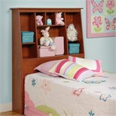 Prepac Slant-Back Tall Twin Bookcase Headboard in Cherry