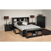 Prepac Sonoma Platform Storage 4 Piece Bedroom Set 