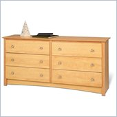 Prepac Sonoma Maple 6 Drawer Double Dresser in Maple