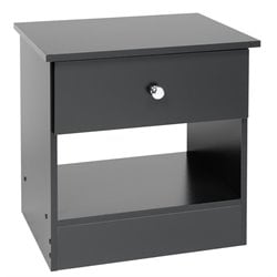 Prepac Black Sonoma One Drawer Black Night Stand