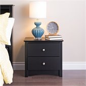 Prepac Sonoma Black 2 Drawer Nightstand