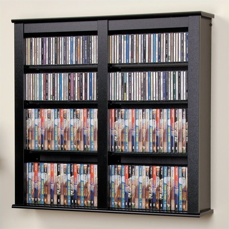 Double Floating Media Wall Storage in Black