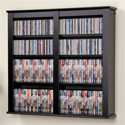 Prepac Double Floating Media Wall Storage in Black