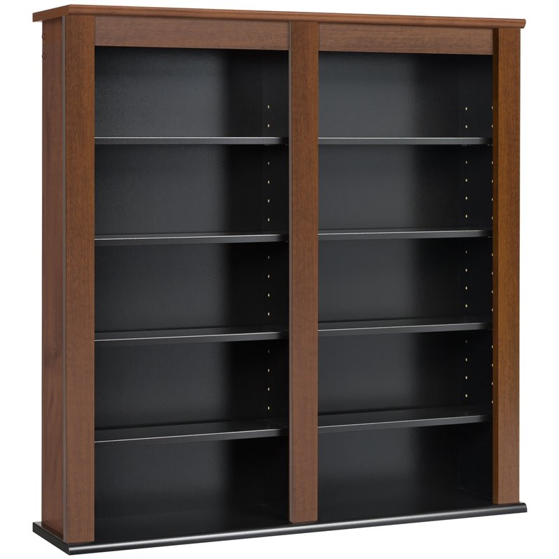 Prepac Double Floating Media Wall Storage in Cherry and Black 3368