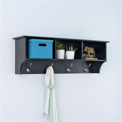Prepac Sonoma Black Cubbie Shelf Wall Coat Rack for Entryway
