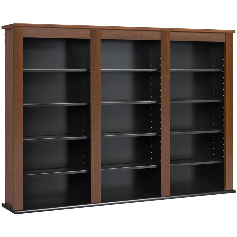 Prepac Triple Floating Media Wall Storage in Cherry and Black 3382