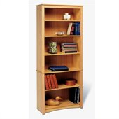 Prepac Sonoma 6 Shelf Wood Bookcase in Maple
