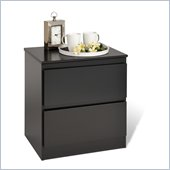Prepac Avanti Two Drawer Nightstand in Black