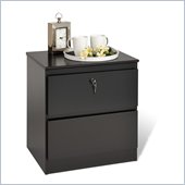 Prepac Avanti Two Drawer Locking Nightstand in Black
