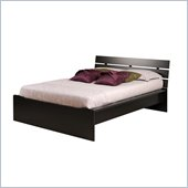 Prepac Avanti Double Platform Bed with Slat Headboard in Black