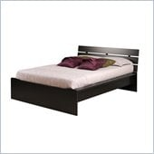 Prepac Avanti Queen Platform Bed with Slat Headboard in Black