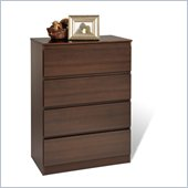 Prepac Avanti Four Drawer Dresser in Espresso