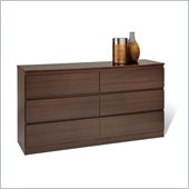 Prepac Avanti 6 Drawer Dresser in Espresso