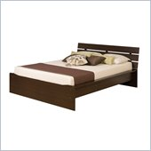 Prepac Avanti Queen Platform Bed with Slat Headboard in Espresso