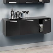 Prepac Coal Harbor Wall Mounted Buffet in Black