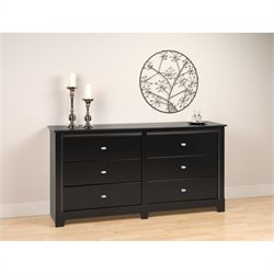Prepac Kallisto 6 Drawer Double Dresser in Black Finish