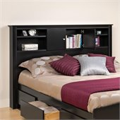 Prepac Kallisto Full / Queen Bookcase Headboard in Black Finish