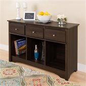 Prepac 3 Drawer Console Table in Espresso Finish