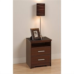 Prepac Coal Harbor Tall 2 Drawer Nightstand in Espresso Finish