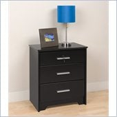 Prepac Coal Harbor Tall & Wide 3 Drawer Nightstand with Lock in Black