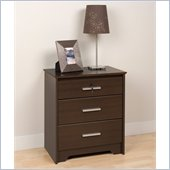 Prepac Coal Harbor Tall 3 Drawer Nightstand with Lock in Espresso Finish