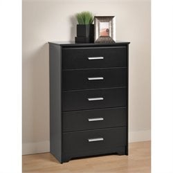 Prepac Coal Harbor 5 Drawer Chest in Black Finish