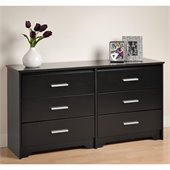 Prepac Coal Harbor 6 Drawer Double Dresser in Black Finish
