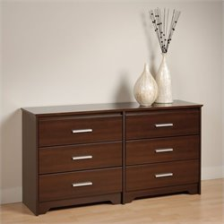 Prepac Coal Harbor 6 Drawer Double Dresser in Espresso Finish