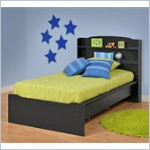 Prepac Aspen Twin Bookcase Platform Bed in Black Finish
