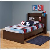 Prepac Aspen Twin Bookcase Platform Bed in Espresso Finish