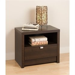 Prepac Series 9 Designer 1 Drawer Nightstand in Espresso