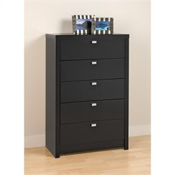 Prepac Series 9 Designer 5 Drawer Chest in Black