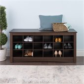Prepac Espresso Shoe Storage Cubbie Bench