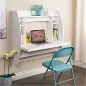 Prepac Floating Desk with Storage in White
