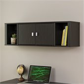 Prepac Designer Floating Hutch in Washed Ebony Finish