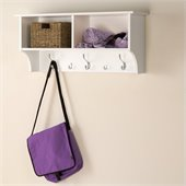 Prepac 36 Wide Hanging Entryway Coat Rack Shelf in White