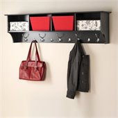 Prepac 60 Wide Hanging Entryway Shelf in Black