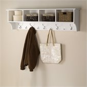 Prepac 60 Wide Hanging Entryway Shelf in White