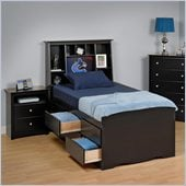 Prepac Sonoma Black Tall Double/Full Bookcase Bed 3 Piece Bedroom Set